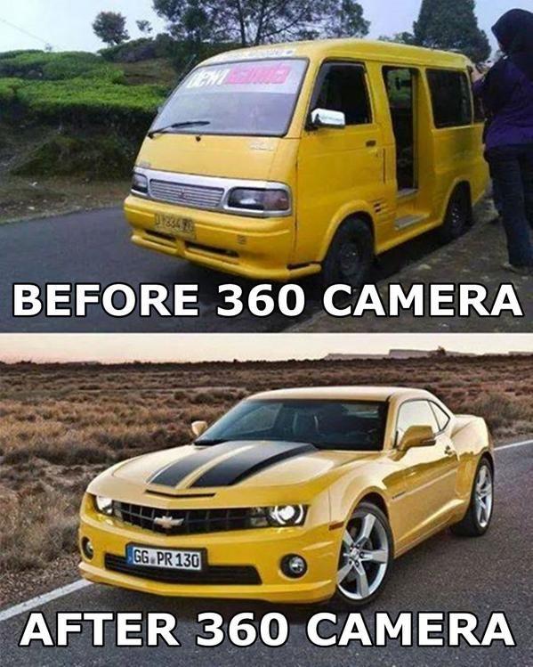 Nggak cuma wajah aja yang bisa diedit pakai camera 360, ternyata mobil juga bisa Pulsker. Buktinya, angkot ini bisa berubah jadi supercar yang keren banget. Walaupun yang sama cuma warnanya aja sih..