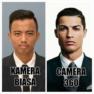 Saat foto pria ini diedit pakai camera 360 bisa berubah menjadi Ronaldo lho. Kalau wajahmu yang diedit kira-kira berubah jadi apa ya Pulsker?
