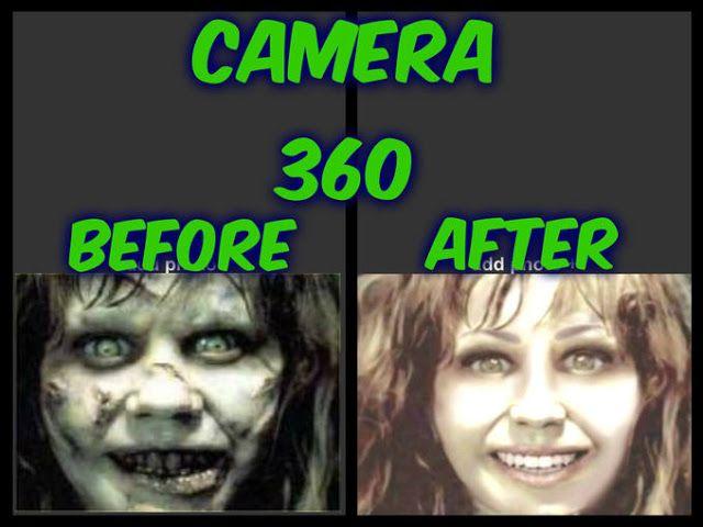 Saat Annabelle diedit pakai camera 360 bisa jadi cantik banget, semua codet diwajahnya juga ilang. Tapi tetap aja wajahnya menyeramkan.
