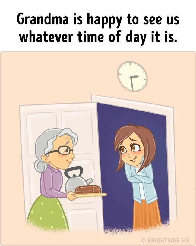 Saat kamu berkunjung kerumahnya saat liburan, nenek adalah sosok yang akan menyambutmu dengan senang hati. Menyiapkan makanan dan camilan kesukaanmu. Jadi benar-benar kangen nenek deh!