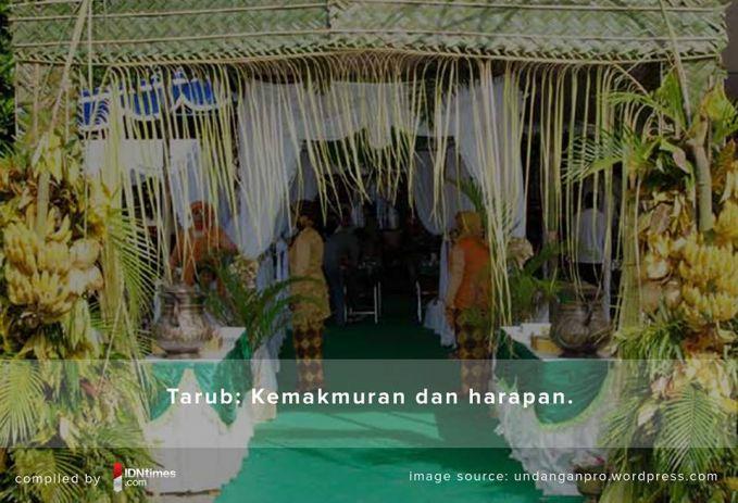 Tarub Tarub ini biasa dipasang didepan pintu acara prosesi pernikahan adat Jawa berlangsung yang mana memiliki makna harapan dan kemakmuran yang akan dirasakan kedua mempelai kelak.