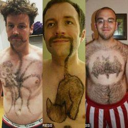 11 Pria dengan Bulu Dada yang Di Bikin Motif Bermacam-Macam, Unik Abis!