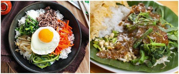 Bibimbab dan nasi pecel Sama-sama menggunakan bahan sayuran, bedanya nasi pecel menggunakan saus kacang.
