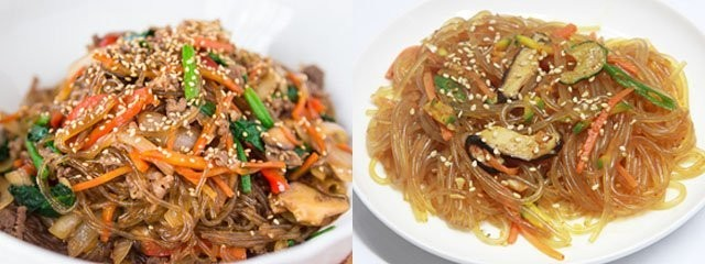 Japchae dan Bihun Tuh penampilannya aja hampir sama kayak bihun, bedanya Cuma bahan dasar dari pembuatan mie nya. Bihun dari sagu kalau Japchae dari tepung ubi jalar.