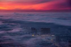 Keindahan Kota Moskow ketika Tertutup Kabut Tebal, Bagai Negeri Diatas Awan