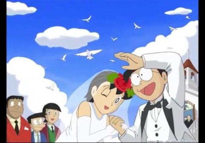 Nah, ini adalah penampakan gaun Sizuka saat menikah dengan Nobita. Anggun banget ya, rambutnya juga masih dengan potongan sebahu.