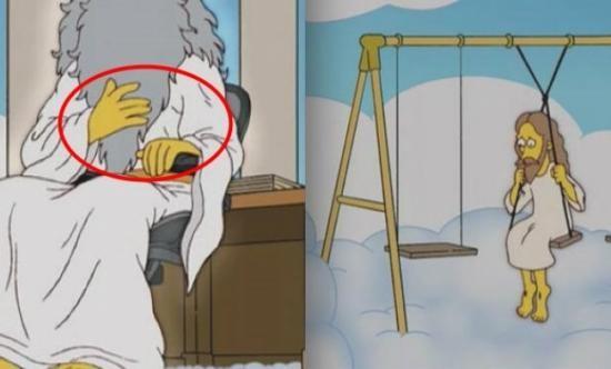 Gambaran tuhan di film The Simpsons yang bertangan 5, tidak seperti film kartun lainnya yang menggambarkan tuhan bertangan 4.