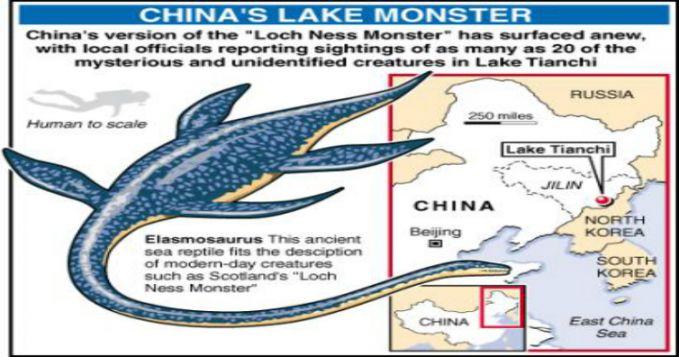 Legenda Loch Ness tidak hanya terkenal berasal dari Inggris saja. Di danau Tianchi yang berada di perbatasan Cina dengan Korea Utara konon terdapat sebuah makhluk aneh yang mirip dengan monster yang ada di Loch Ness, Eropa pulsker.