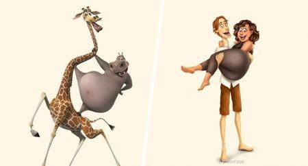 Di film Madagaskar, mereka ini adalah dua sahabat dekat. Tapi saat jadi manusia, mereka digambarkan menjadi pasangan suami istri lho.