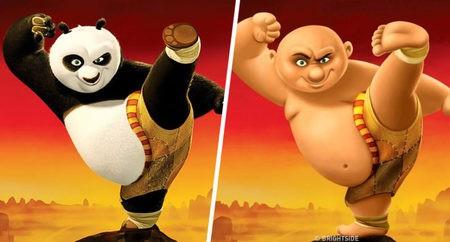 Pemeran Kung Fu Panda ini digambarkan menjadi seseorang yang bertubuh tambun dan berkepala botak.