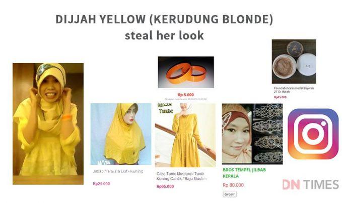 Dijjah Yellow Style dari Dijah Yellow ini khusus dipersembahkan buat kamu para hijaber, tetep ya sesuai namanya, pilihan baju dan hijabnya pun berwarna kuning.