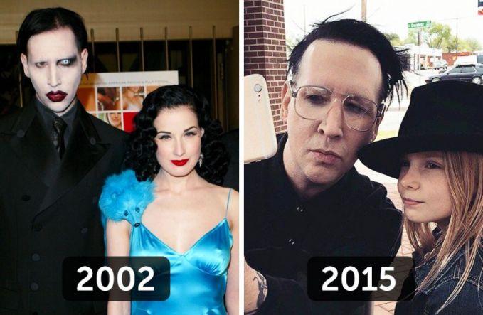 Marylin Manson dulu saat masih jaya dikenal dengan penampilannya yang nyentrik dan kadang terkesan agak horor. Sekarang dia lebih terlihat kebapakan ya pulsker saat foto bersama sang putri ini.