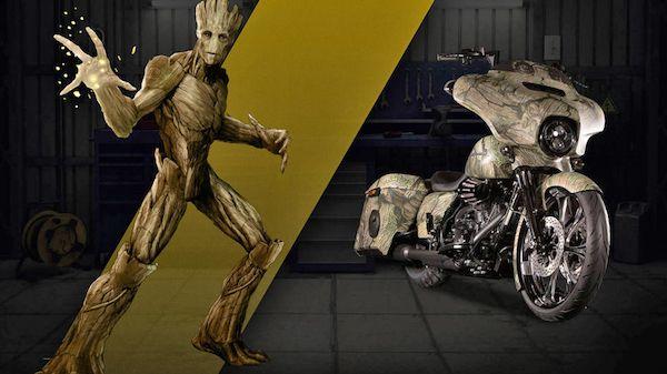 Oke juga ya motor Harley-Davidsonnya si Groot ini?. Dengan desain ala-ala kayu membuatnya nampak keren banget pulsker. Beda dari yang lain deh pokoknya.