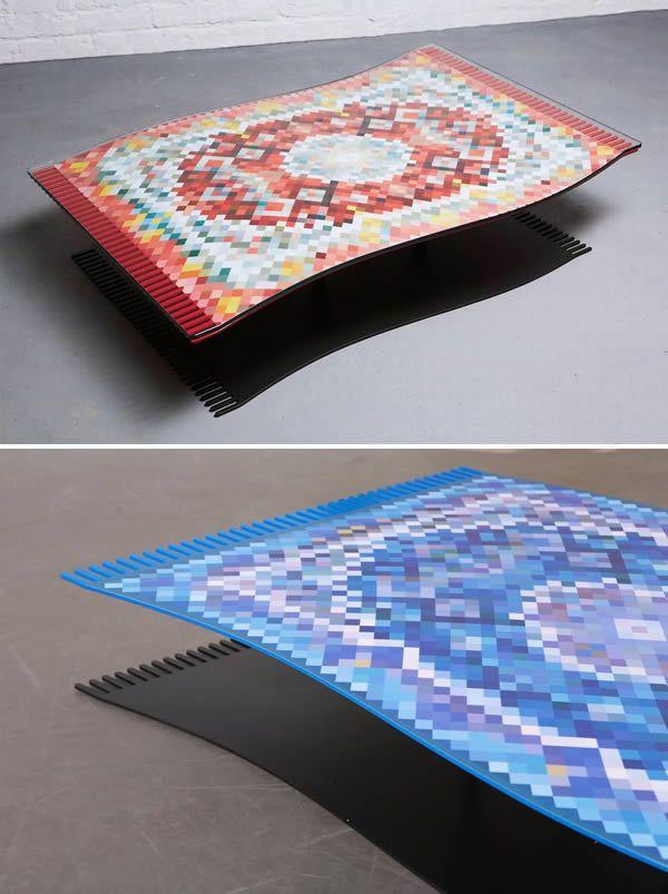 Kini karpet terbangnya Aladin bisa hadir di ruang tamu lho. Duffy London membuat meja unik layaknya karpet Aladin ini pulsker. Sebenarnya kaki mejanya ada dibawahnya namun bentuknya tersamarkan. Keren banget kan?. Meja karpet terbang Aladin ini dibanderol seharga 2.279 dolar. Hmm, lumayan tuh.