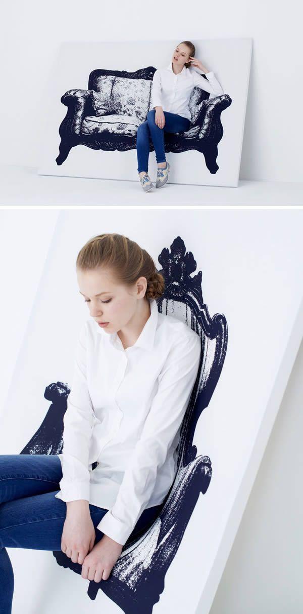 Sofa yang menipu penglihatan kita ini didesain oleh Naoki Ono dan Yuki Yamamoto pulsker. Sofanya terlihat seperti lukisan, tapi kalian bisa duduk disana lho. Sebenarnya sofa ini dibikin dari kayu dan alumunium. Teknik desainnya saja yang menipu mata kita. Keren banget nih.