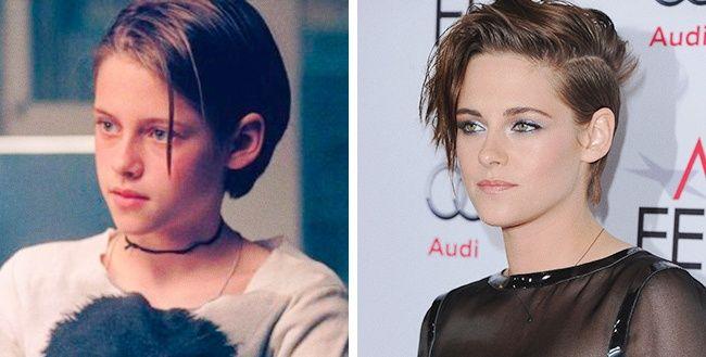Dari dulu sampai sekarang Kristen Stewart masih tetap cantik nih pulsker. Di sisi kiri foto ini adalah sosok Stewart saat membintangi film 'Panic Room' tahun 2002 lalu.
