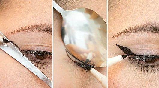 Selain itu, sendok bisa membatumu membuat garis mata pada eyeliner.