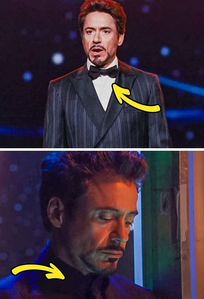 Yang terakhir ada Iron mMan. Terlihat Tony Stark memakai kemeja putih, namun di beberapa adegan selanjutnya kemeja malah berubah menjadi hitam. Atau mungkin efek minimnya cahaya ya Pulsker?