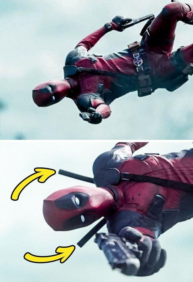 Siapa nih yang idolanya Deadpool? Ternyata dalam filmnya terdapat sebuah kesalahan dimana pada adegan sebelumnya tidak ada pedang, namun selanjutnya ada pedang di punggungnya. Wkwkwkw...