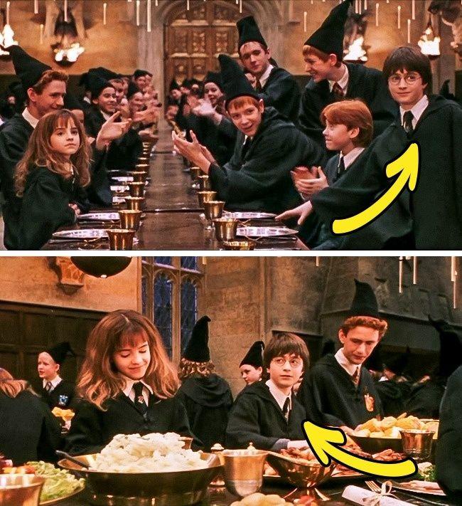 Lalu terdapat kesalahan pada saat jamuan makan. Diamana sebelumnya Harry terlihat duduk di sebelah Ron, namaun setelah itu ia terlihat duduk di samping Hermione. Magic? Wkwkwkw...