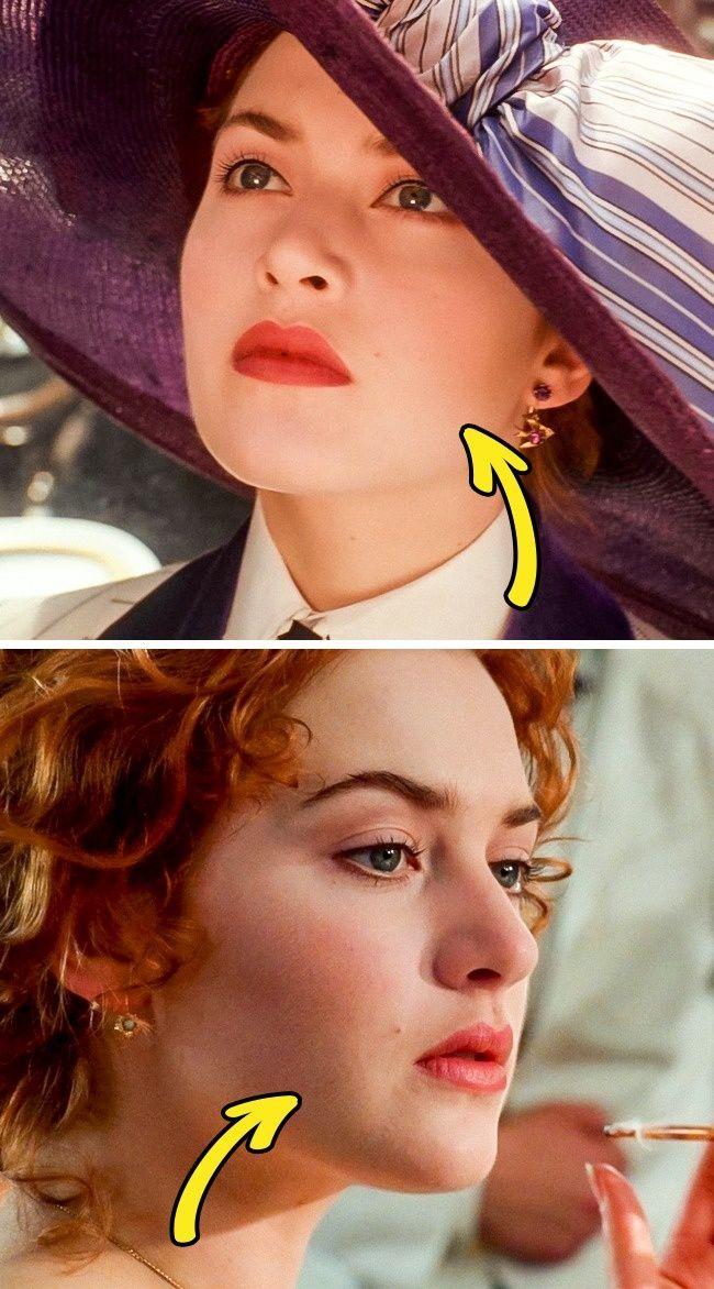 Film Titanic. Terlihat kalau Rose memiliki tahi lalat di bagian kiri bibir, namun di adegan lainnya tahi lalatnya berada di bagian kanan bibir.