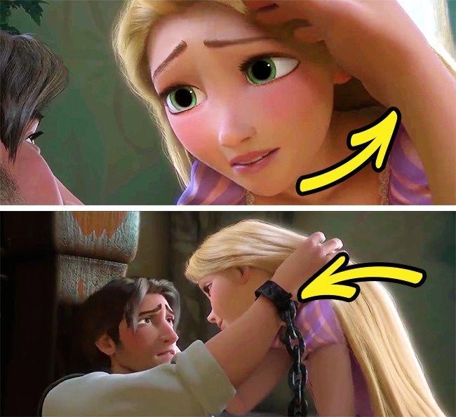 Tangled. Terlihat sewaktu Flynn sekarat dan mengelus dahi Rapunzel tangannya dalam kondisi kosong. namun setelahnya tangan Flynn tampak terbelenggu.