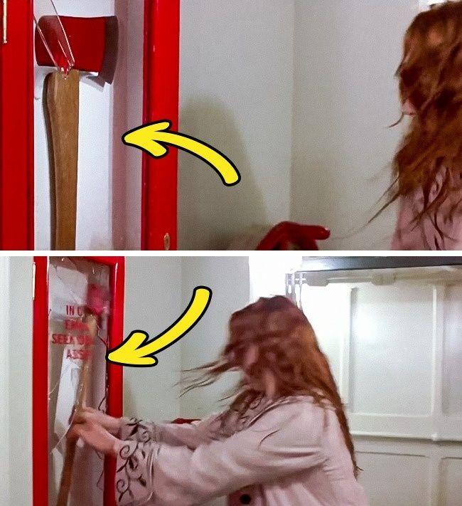 Film Titanic lagi nih Pulsker. Terlihat sebelum Rose mengambil kapak, kacany asudah terlihat Pecah. Namun terlihat dipecahkan kembali setelahnya. Xixixix...
