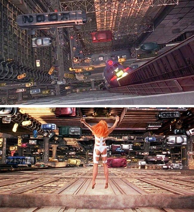 The Fifth Element. Terlihat perbedaan pada tempat dimana Leelo akan melompat. Yang sebelumnya terdapat monorail, namun adegan selanjutnya menampilkan perubahan yang drastis pada bangunannya.
