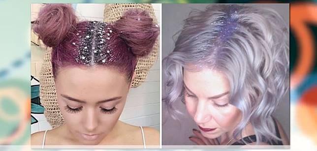 Garis rambut berhias gliter. Dengan menggunakan pomade dan gliter, seketika kamu akan terlihat tampil beda.