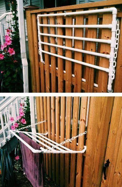 Kalau halaman rumah kalian sempit, bisa dibikin kayak gini pulsker buat ngejemur baju atau handuk. Bisa dilipat menyatu dengan pagar.