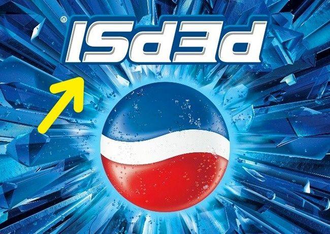 Pepsi pernah merilis botol dengan logo terbalik. Hal ini dianggap cacat produksi oleh masyarakat padahal jika terbalik logo pepsi dibaca tergabung yang sangat mirip dengan kata-kata sudah mati.