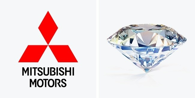 Logo ini menampilkan tiga berlian yang ditumpuk di atas satu sama lain. Berlian pada logo ini mewakili keandalan, integritas dan kesuksesan, sedangkan warna merah menyiratkan kepercayaan diri. Selain itu, orang Jepang percaya bahwa warna ini bisa menarik pelanggan.