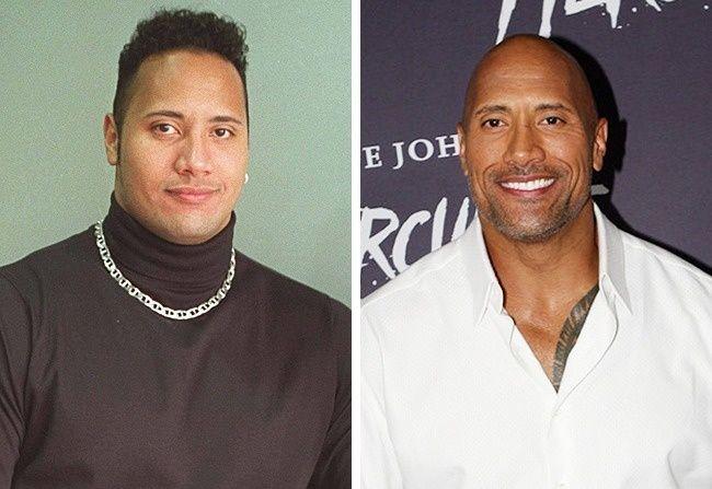 Pertama ada aktor sekaligus mantan pegulat profesional Dwayne Johnson atau akrab disapa The Rock pulsker. Di masa mudanya dulu, dia punya gaya rambut yang keren lho.