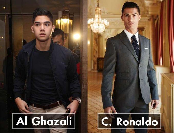 Dilihat dari wajah dan gaya rambut Al Ghazali memang benar-benar mirip dengan pemain sepak bola Cristiano Ronaldo dari Portugal.