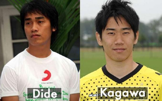 Dilihat dari bentuk mata yang sipit vokalis band Hijau Daun ini terlihat sangat mirip dengan pemain sepak bola yang bernama Kagawa dari Jepang.