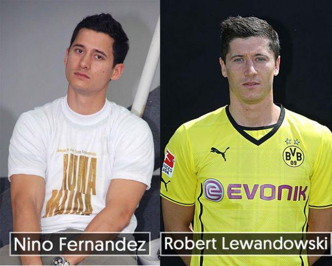 Dilihat dari bentuk wajah dan postur tubuh artis Nino Fernandez benar-benar mirip dengan pemain sepak bola Robert Lewandowski dari Polandia.