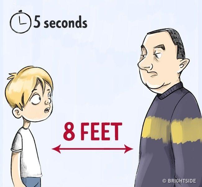 Menjaga jarak ketika berbicara! Anak seharusnya tahu bahwa dia tidak diwajibkan untuk berbicara dengan orang asing, jadi jika percakapan berlangsung lebih lama dari 5-7 detik, sebaiknya pergi dan menuju lokasi yang aman. Sementara percakapan berlangsung, seorang anak harus selalu berdiri pada jarak 6,5-8 meter dari orang asing; Jika orang asing mencoba mendekat, mencobalah untuk mundur selangkah. Latihlah situasi ini dengan anak Anda, perlihatkan kepadanya jarak 6,5 kaki, dan tekankan bahwa hal itu harus dijaga tidak peduli apapun.