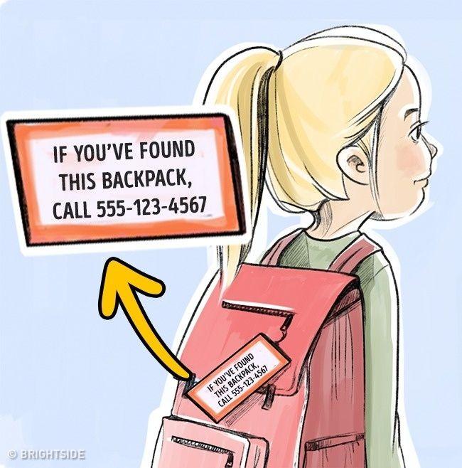 Tidak mengungkapkan nama anak anda! Jangan menulis nama anak Anda pada barang pribadinya. Hal pribadi anak Anda seharusnya tidak memberi akses pada orang asing untuk mengetahui informasi pribadi sehingga tidak terjadi manipulasi berbahaya.