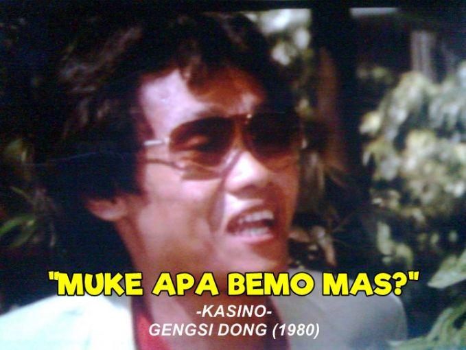 Kelucuan Kasino memang tak ada habisnya, apalagi dalam adegan film 'Gengsi Dong'. Di film itu nampak ketika adegan ekspresi bertemu dengan Dono pertama kali.
