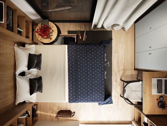 Aturlah dengan rapi letak furnitur agar kamarmu yang kecil tidak terlihat sempit.