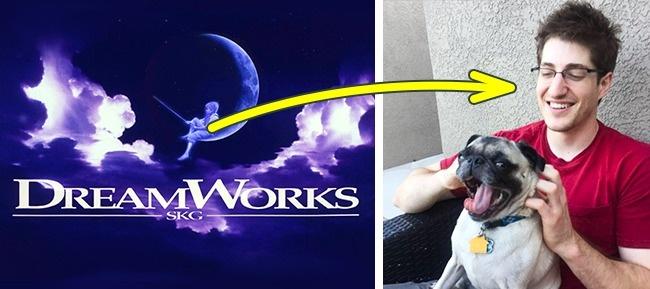 Logo dari studio DreamWorks adalah seorang pria yang duduk di bulan sambil mancing pulsker. Seniman yang merancang logo tersebut adalah Robert Hunt. Dan sosok anak yang sedang duduk di logo tersebut adalah gambaran tentang anaknya yang bernama William. Kini, William menjadi seorang komposer dan bekerja di industri musik.