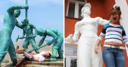 10 Tingkah Konyol Orang-Orang Dengan Patung Ini Bikin Kita Nyengir