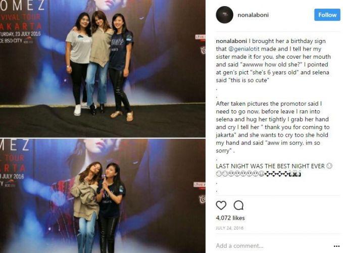 Ternyata, si Ronaldowati yang udah beranjak gede ini ngefans banget sama Selena Gomez pulsker. Sampai bela-belain tuh nonton konsernya di Jakarta tahun lalu.