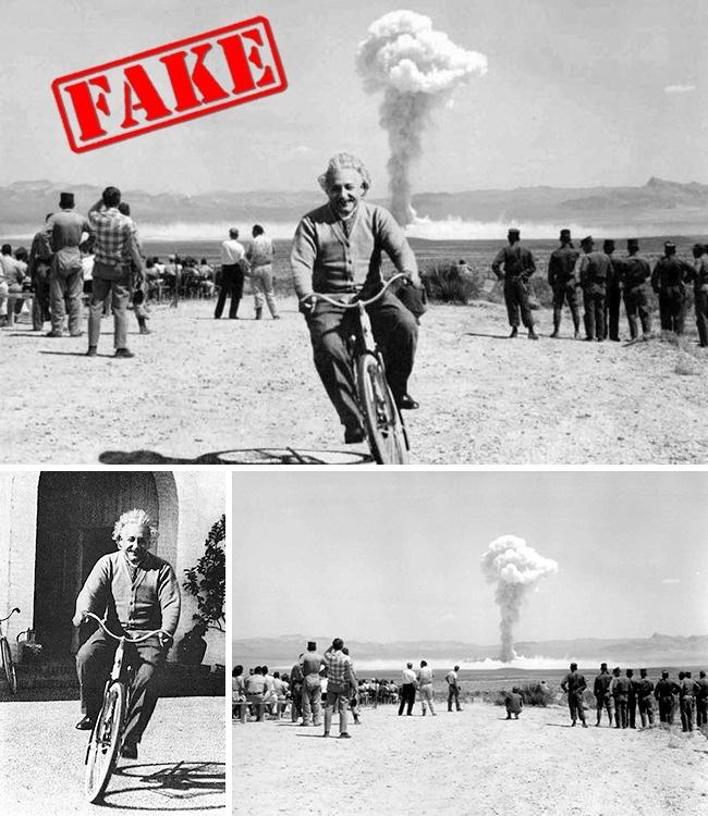 Pertama ada foto Albert Einstein sedang bersepeda dengan latar belakang percobaan nuklir pulsker. Padahal foto percobaan nuklir tersebut dilakukan pada 1962,tujuh tahun setelah meninggal pada April 1955. Masa Einstein hidup lagi dan bersepeda disana?.