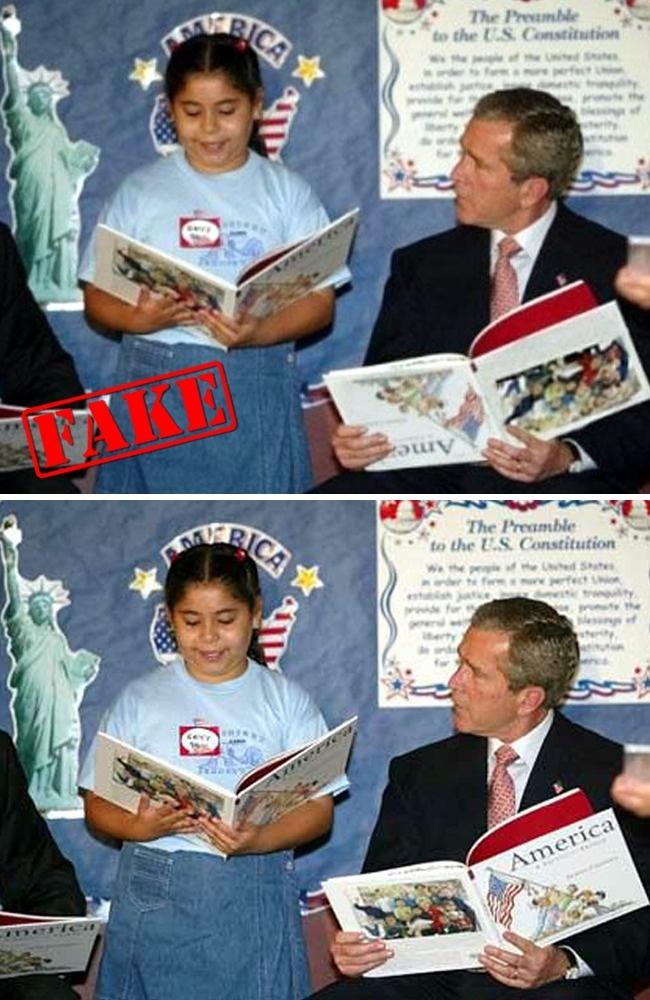 Foto mantan presiden AS George W. Bush, Jr membaca buku secara terbalik dengan anak-anak sempat menghebohkan dunia maya pulsker. Tapi foto itu tidak benar adanya, dan foto editan tersebut dibuat untuk menjatuhkan reputasi Bush semata oleh orang-orang yang tak bertanggung jawab.