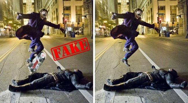 Foto Batman dan Joker lagi main skateboard dipinggir jalan ini banyak menyebar di Twitter lho pulsker. Nggak sedikit pula yang percaya dan membagikannya. Padahal nih, foto tersebut juga hasil editan.
