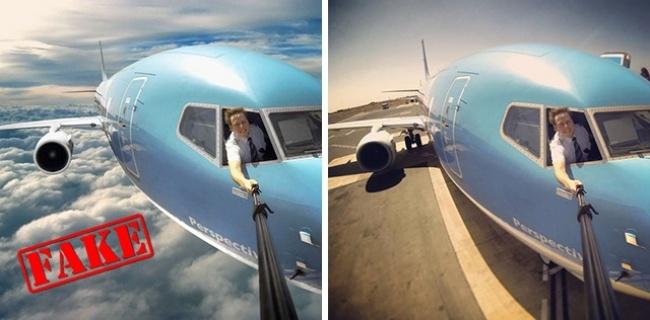 Ini nih yang bikin heboh pulsker, foto seorang pilot yang lagi selfie di angkasa. Jelas lah foto itu hasil editan. Bayangin aja, pilot yang nggak pakai perelngkapan gitu bisa selfie dengan bebasnya di angkasa. Kan bahaya banget pulsker?.