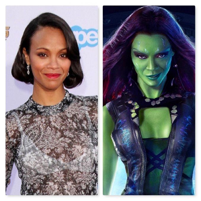Zoe Saldana memerankan Gamora dalam film 'Guardians of The Galaxy' 2014 lalu. Ya, gak beda jauh lah penampakannya sama aslinya pulsker.