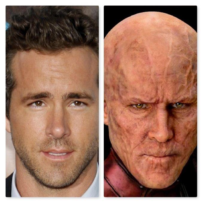 Muka Ryan Reynolds jadi penuh guratan pas meranin sosok Deadpool tahun 2016. Jadi mirip bakso tuh wajahnya.