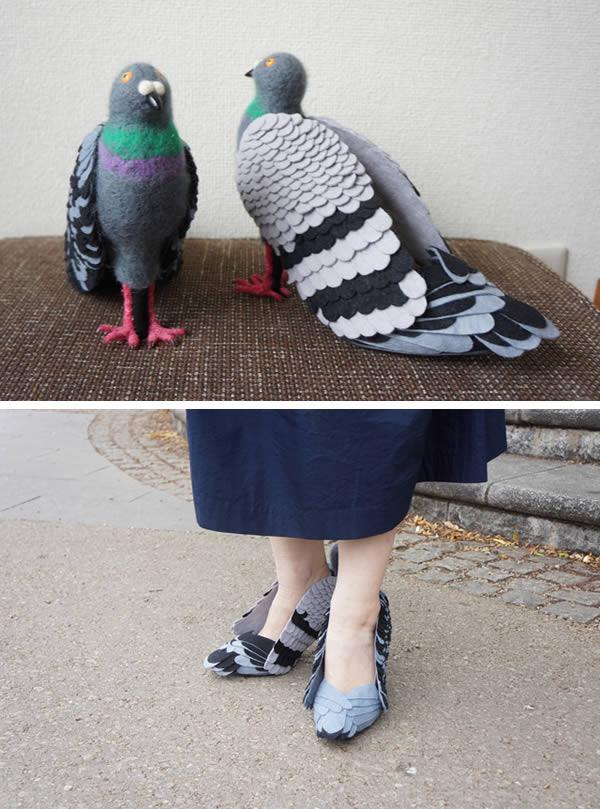 Jangan terkecoh ya pulsker, sekilas mirip sama merpati pulsker. Desainer asal Jepang Kiko Otsuhata membuat heels yang diberi nama dengan 'hato-heel'. Hato dalam bahasa Jepang berarti merpati. Keren kan?.